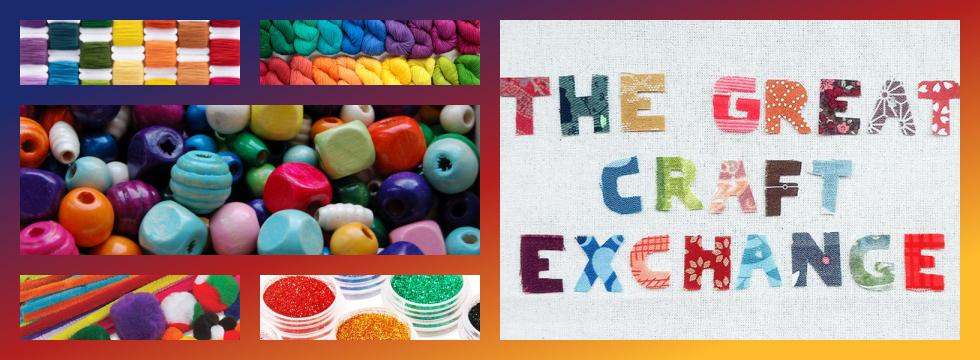 Craft Exchange Banner featuring different craft supplies