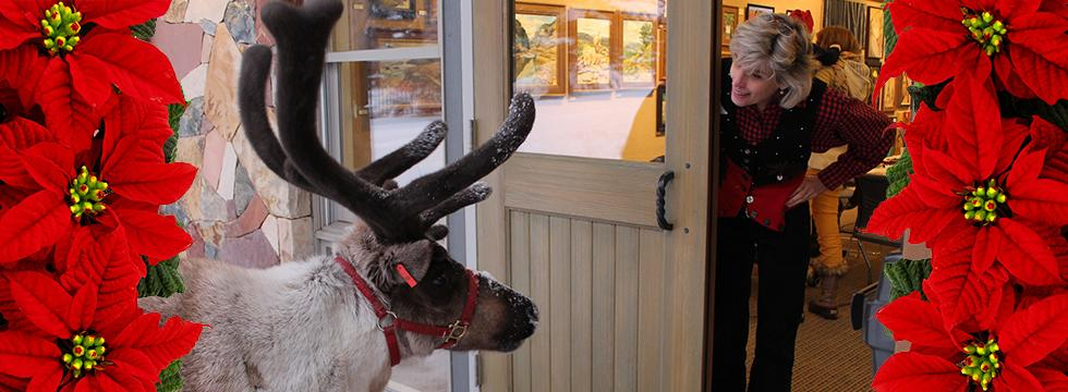 Reindeer at the library banner