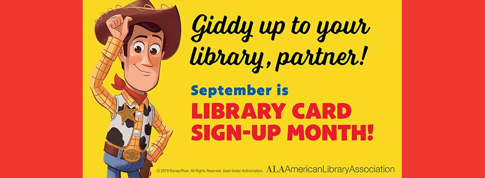 2019 Library Card Sign Up banner featuring Woody from Toy Story
