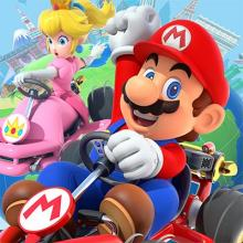 Picture of Mario of Mario Bros. and Other Nintendo Characters Driving Go Karts