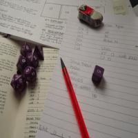 Character sheet and dice