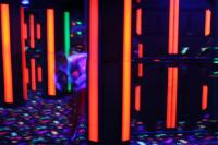 Shows the lights of a laser tag room